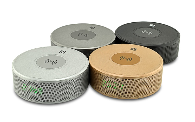 Wireless Charging bluetooth speaker round shape